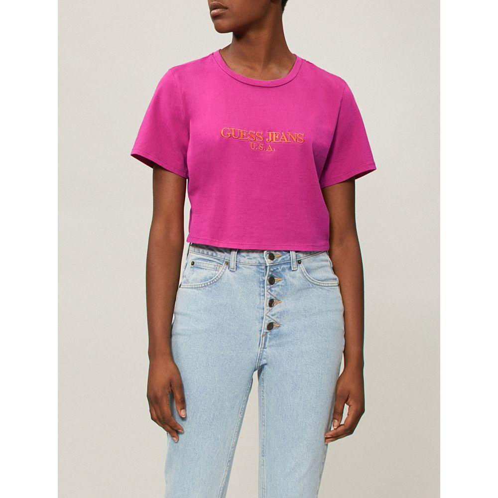 ゲス レディース トップス ベアトップ・チューブトップ・クロップド【farmers market logo-print cropped cotton-jersey t-shirt】Fuchsia red