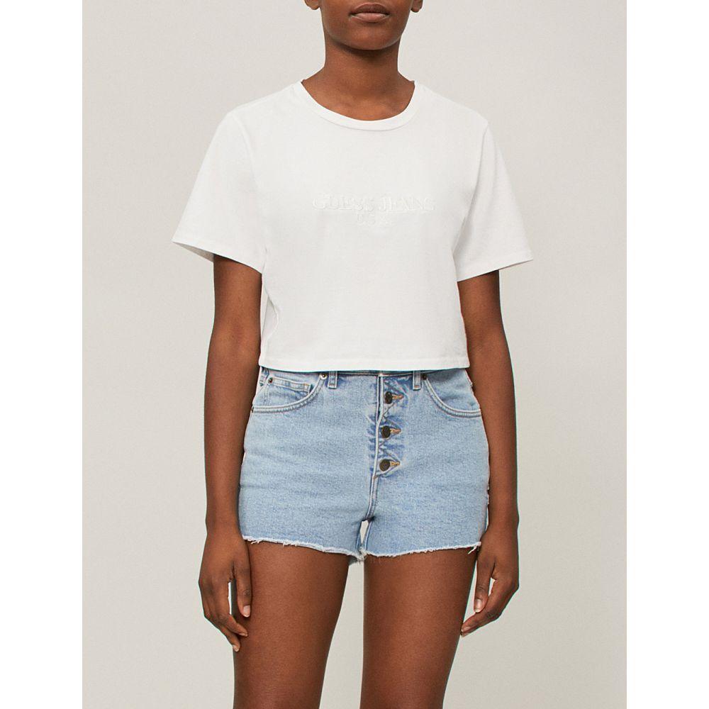 ゲス レディース トップス ベアトップ・チューブトップ・クロップド【farmers market logo-print cropped cotton-jersey t-shirt】Winter white