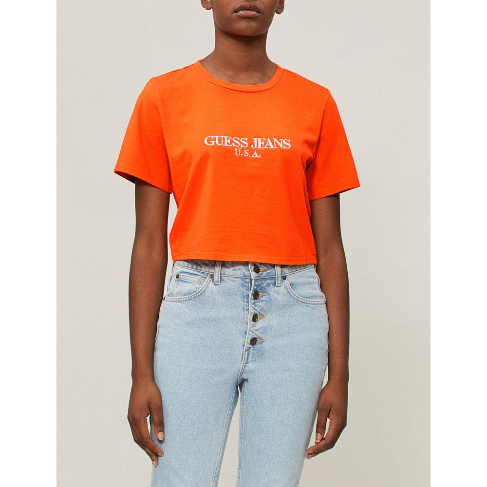 ゲス レディース トップス ベアトップ・チューブトップ・クロップド【farmers market logo-print cropped cotton-jersey t-shirt】Vibrant orange