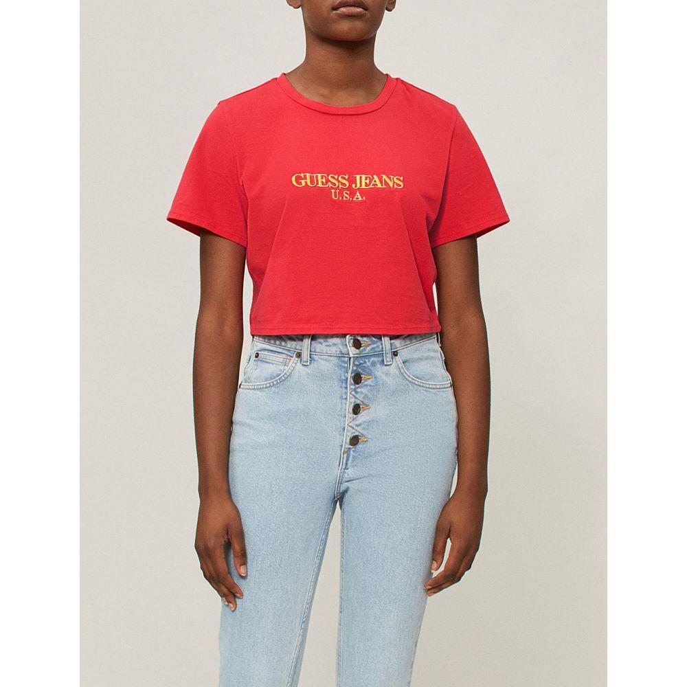 ゲス レディース トップス ベアトップ・チューブトップ・クロップド【farmers market logo-print cropped cotton-jersey t-shirt】Hibiscus