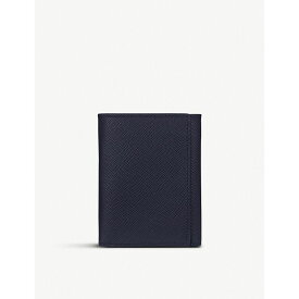 スマイソン smythson レディース 財布【panama cross-grain leather trifold wallet】Navy