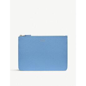 スマイソン smythson レディース ポーチ【panama cross-grain leather travel pouch】Nile blue