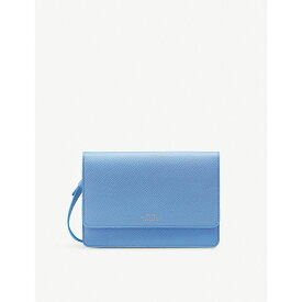 スマイソン smythson レディース 財布【panama cross-grained leather purse with strap】Nile blue