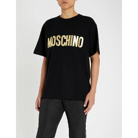 モスキーノ moschino メンズ トップス Tシャツ【metallic logo-applique cotton-jersey t-shirt】Black gold