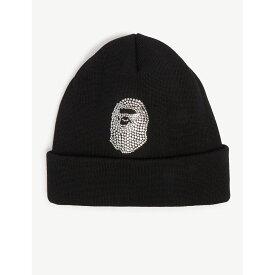 d22185d22a8 ア ベイシング エイプ a bathing ape メンズ 帽子 ニット swarovski crystal beanie hat Black