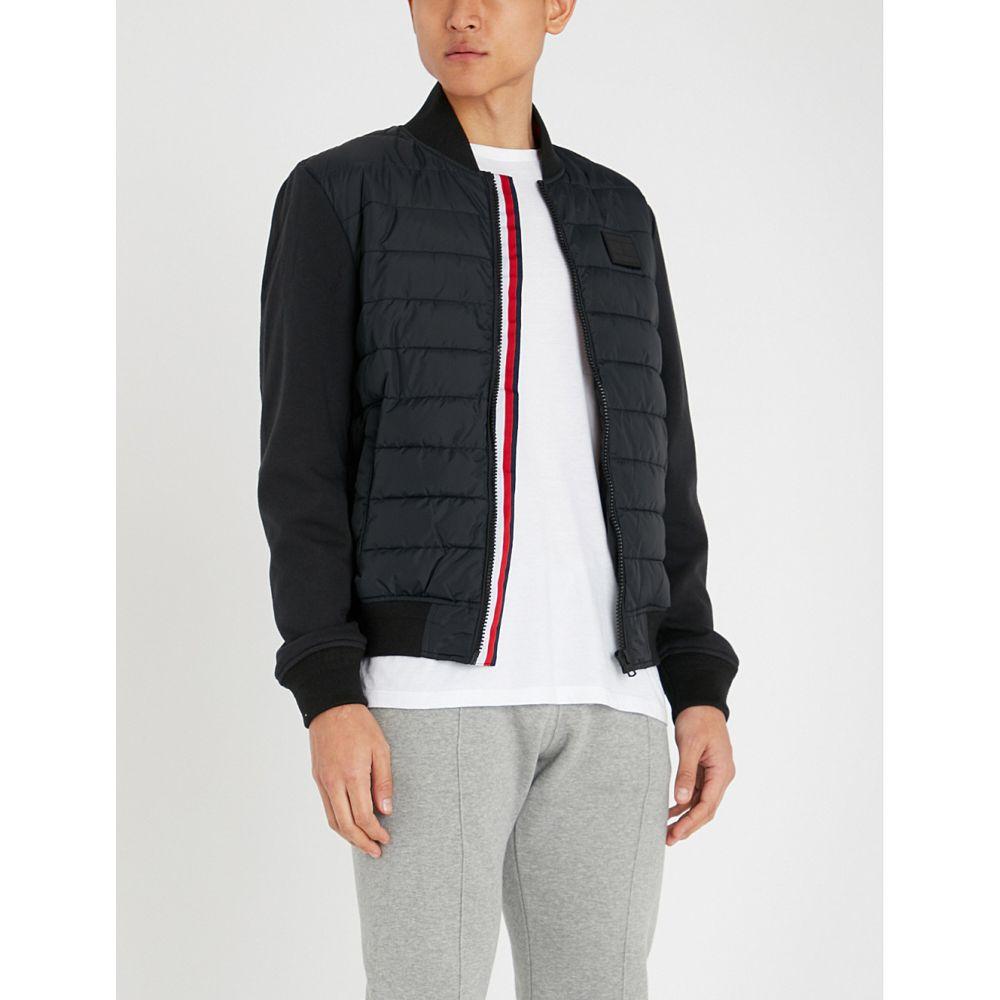 トミー ヒルフィガー tommy hilfiger メンズ アウター ブルゾン【striped-trim shell and cotton-jersey bomber jacket】Jet black