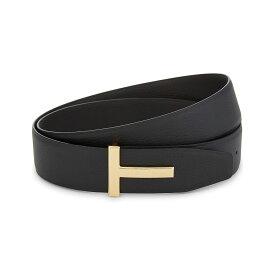 トム フォード tom ford メンズ ベルト【reversible t logo leather belt】Black/brown gld