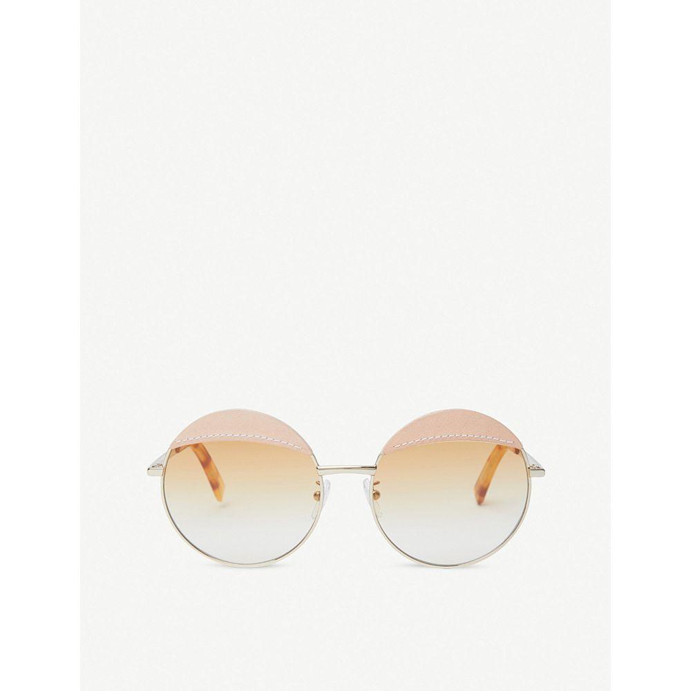 ロエベ loewe レディース メガネ・サングラス【round-frame metal and leather sunglasses】Gold