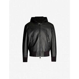 ニール バレット NEIL BARRETT メンズ アウター レザージャケット【Leather and cotton-jersey jacket】Black