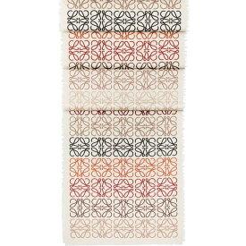 ロエベ LOEWE レディース マフラー・スカーフ・ストール【Anagram In Lines cashmere wool and silk-blend scarf】White