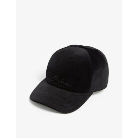 バルマン BALMAIN メンズ 帽子 キャップ【Logo cotton velour baseball cap】Black
