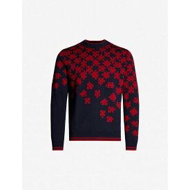 ランバン LANVIN メンズ トップス ニット・セーター【Graphic-print wool jumper】Navy red