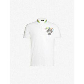 ヴェルサーチ VERSACE メンズ トップス ポロシャツ【Logo-embroidered cotton-pique polo shirt】Bianco