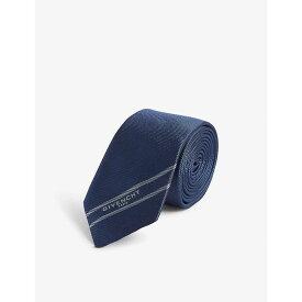 ジバンシー GIVENCHY メンズ ネクタイ【Logo stripe silk jacquard tie】Navy/lt blue