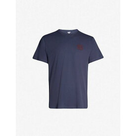 ロエベ LOEWE メンズ トップス Tシャツ【Logo-embroidered cotton-jersey T-shirt】Navy