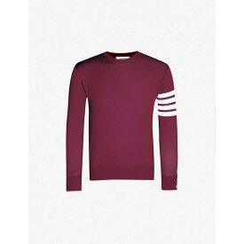 トム ブラウン THOM BROWNE メンズ トップス ニット・セーター【Striped long-sleeved crewneck wool jumper】Burgundy