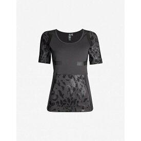 アディダス ADIDAS BY STELLA MCCARTNEY レディース トップス Tシャツ【Run camouflage-print panelled stetch-jersey T-shirt】Utility black