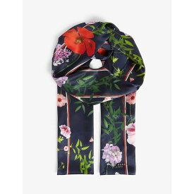 テッドベーカー TED BAKER レディース マフラー・スカーフ・ストール【Zoellee Hedgerow print skinny silk scarf】Dk-blue