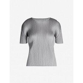 プリーツ プリーズ イッセイ ミヤケ PLEATS PLEASE ISSEY MIYAKE レディース トップス Tシャツ【Basics round-neck satin pleated T-shirt】Light grey