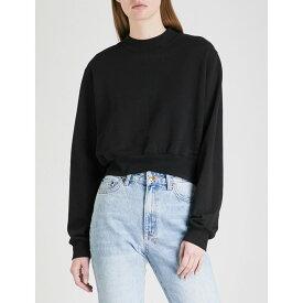 コットンシチズン COTTON CITIZEN レディース トップス スウェット・トレーナー【Milan cropped cotton-jersey sweatshirt】Jet black
