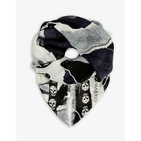 アレキサンダー マックイーン ALEXANDER MCQUEEN レディース マフラー・スカーフ・ストール【Torn roses silk-blend scarf】Blue/ivory