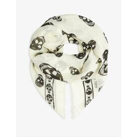 アレキサンダー マックイーン ALEXANDER MCQUEEN レディース マフラー・スカーフ・ストール【Skull print silk scarf】Ivory/black