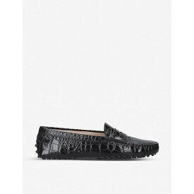 トッズ TODS レディース シューズ・靴 ローファー・オックスフォード【Mocassino croc-embossed leather driving shoes】Black