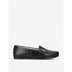 トッズ TODS レディース シューズ・靴 ローファー・オックスフォード【City Gommino crocodile-embossed leather loafers】Black