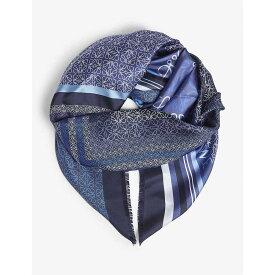 ロエベ LOEWE レディース マフラー・スカーフ・ストール【Patchwork print silk scarf】Blue