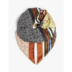 ロエベ LOEWE レディース マフラー・スカーフ・ストール【Patchwork print silk scarf】Terracotta