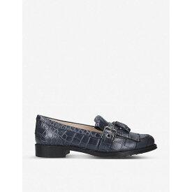 トッズ TODS レディース シューズ・靴 ローファー・オックスフォード【Crocodile-embossed leather tassel loafers】Navy