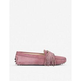トッズ TODS レディース シューズ・靴 ローファー・オックスフォード【Gommini fringe-detail suede driving shoes】Pink