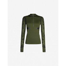 アディダス ADIDAS BY STELLA MCCARTNEY レディース トップス 【run camouflage-print stretch-jersey top】Dark oak-smc