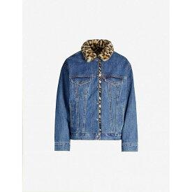 リーバイス LEVI'S レディース ジャケット Gジャン アウター【faux leopard-print fur-trimmed regular-fit denim jacket】Cat eye