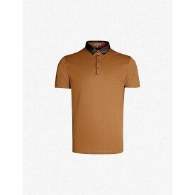 ランバン LANVIN メンズ ポロシャツ トップス【colour-blocked cotton-jersey polo shirt】Caramel