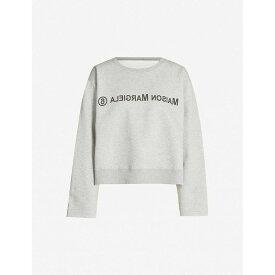 メゾン マルジェラ MM6 MAISON MARGIELA レディース スウェット・トレーナー トップス【oversized text-print cotton-jersey sweatshirt】Grey melange