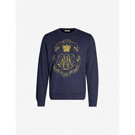 エトロ ETRO メンズ スウェット・トレーナー トップス【graphic logo-print cotton-blend jersey jumper】Navy