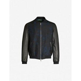 エトロ ETRO メンズ ブルゾン ミリタリージャケット アウター【floral-jacquard leather and satin bomber jacket】Black