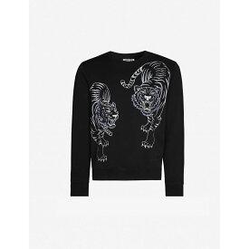 ケンゾー KENZO メンズ スウェット・トレーナー トップス【tiger-embroidered stretch-cotton sweatshirt】Black