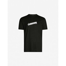 ランバン LANVIN メンズ Tシャツ トップス【strikethrough logo-print cotton-jersey t-shirt】Black