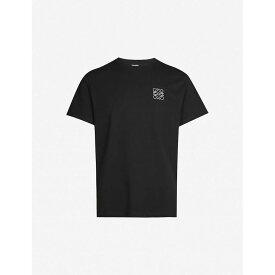 ロエベ LOEWE メンズ Tシャツ トップス【logo-embroidered cotton-jersey t-shirt】Black