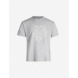 ケンゾー KENZO メンズ Tシャツ トップス【tiger-embroidered cotton-blend jersey t-shirt】Grey