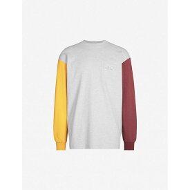 ドロール ド ムッシュ DROLE DE MONSIEUR メンズ 長袖Tシャツ トップス【contrast-sleeve cotton-jersey top】Grey