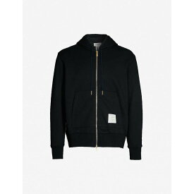 トム ブラウン THOM BROWNE メンズ パーカー トップス【striped-trim cotton-jersey hoody】Navy