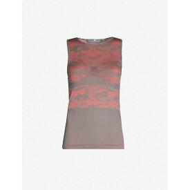 アディダス ADIDAS BY STELLA MCCARTNEY レディース タンクトップ トップス【essentials camouflage-print jacquard-knit top】Grey five clay red-smc