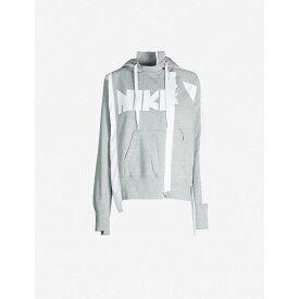 ナイキ NIKE X SACAI レディース パーカー トップス【Asymmetric logo-print cotton-blend hoody】Dk Grey Heather/white