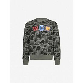 ア ベイシング エイプ A BATHING APE メンズ スウェット・トレーナー トップス【Graphic-print cotton-jersey sweatshirt】BLACK