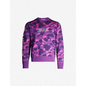ア ベイシング エイプ A BATHING APE メンズ スウェット・トレーナー トップス【Camouflage-print cotton-jersey sweatshirt】PURPLE