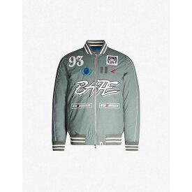 ア ベイシング エイプ A BATHING APE メンズ ブルゾン ミリタリージャケット アウター【Motorsport logo-embroidered bomber jacket】GRAY