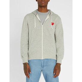 コム デ ギャルソン COMME DES GARCONS PLAY メンズ パーカー トップス【Logo-embroidered cotton-jersey hoody】GREY